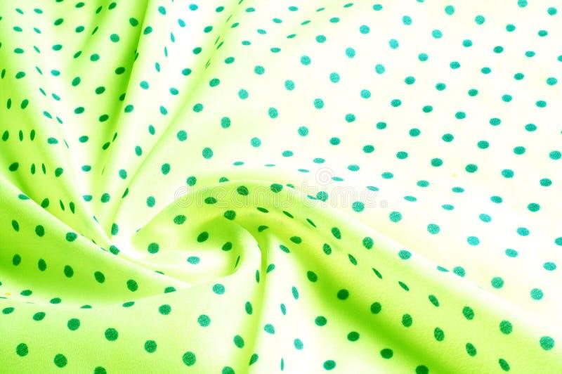 Textuur Tekening Achtergrond de zijdestof is groen, polka dit royalty-vrije stock foto