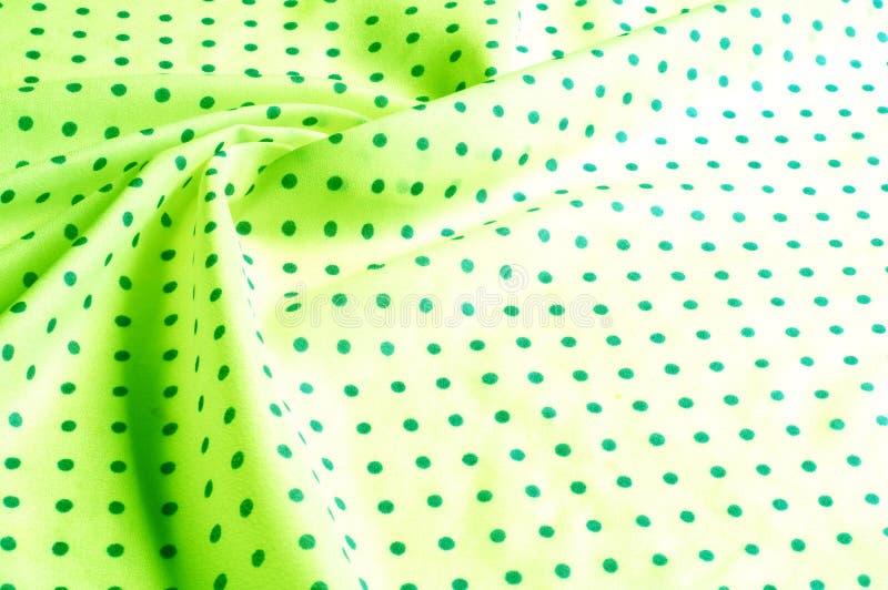 Textuur Tekening Achtergrond de zijdestof is groen, polka dit royalty-vrije stock fotografie