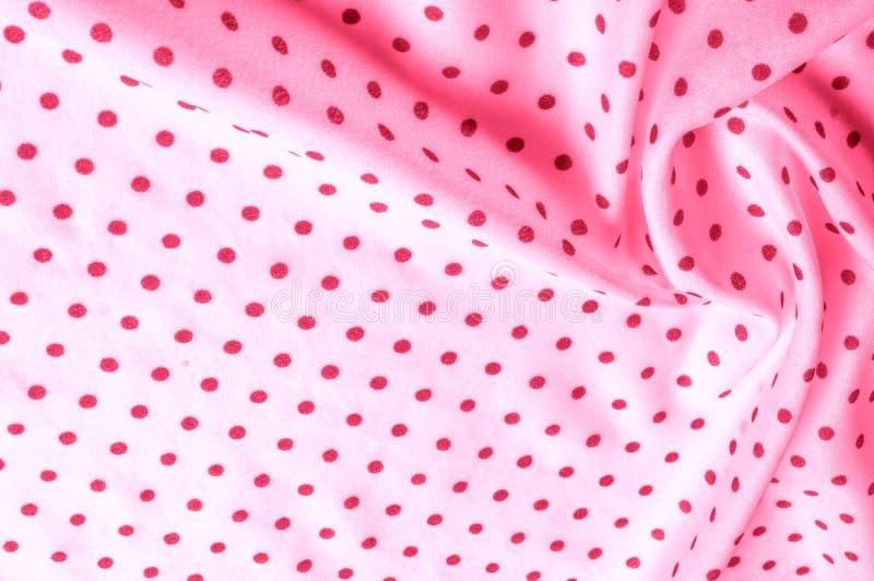 Textuur Tekening Achtergrond de zijdestof is roze, polka Dit v stock foto
