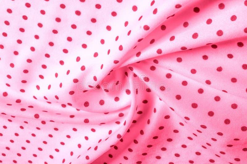 Textuur Tekening Achtergrond de zijdestof is roze, polka Dit v royalty-vrije stock afbeelding