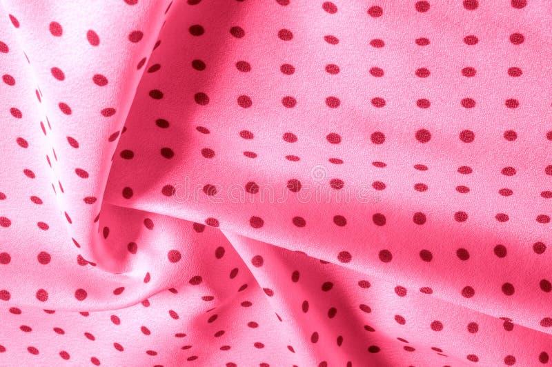 Textuur Tekening Achtergrond de zijdestof is roze, polka Dit v stock fotografie
