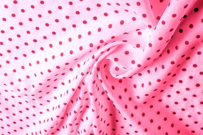 Textuur Tekening Achtergrond de zijdestof is roze, polka Dit v royalty-vrije stock foto