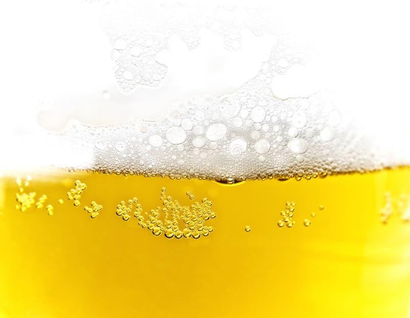 Textuur van bierschuim stock afbeeldingen