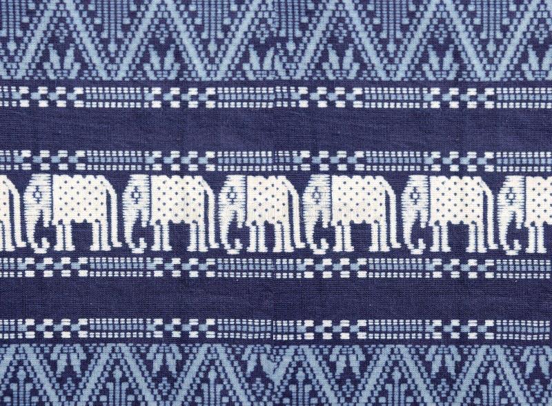 Textuur van blauwe katoenen stof, met witte geweven stoffenolifant stock afbeeldingen