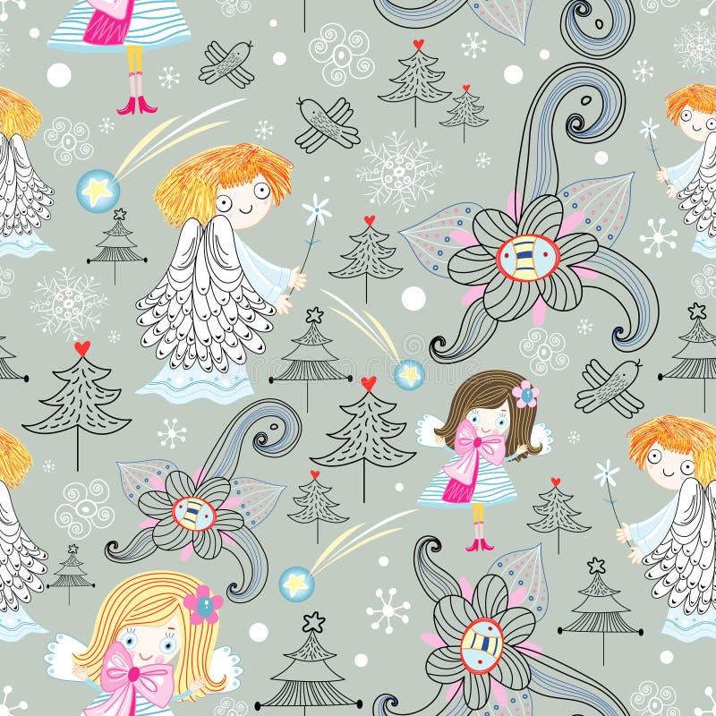 Textuur van de engelen en de sneeuwvlokken vector illustratie