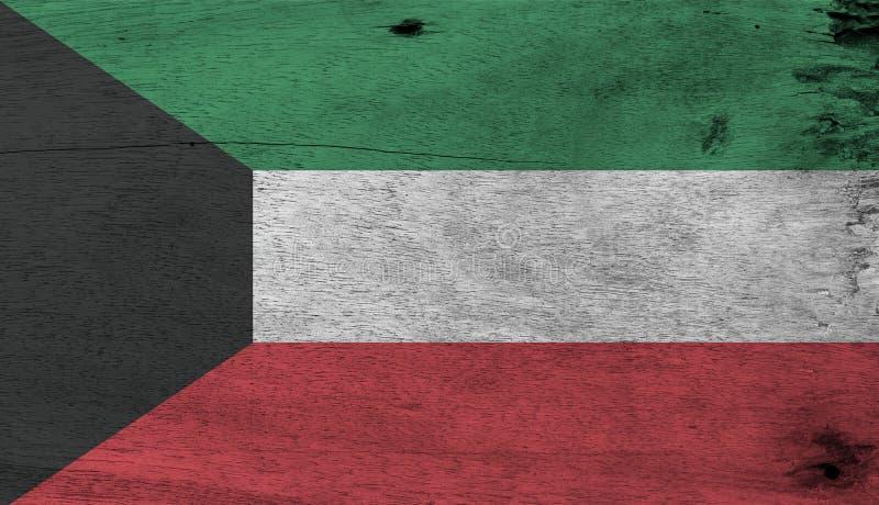 Textuur van de Grunge de Koeweitse vlag, groene witte en rode kleur met zwart die trapezium op de hijstoestelkant wordt gebaseerd royalty-vrije stock fotografie