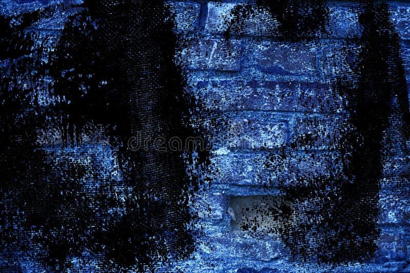 Textuur van de Grunge de ultra blauwe bakstenen muur, cementachtergrond voor website of mobiele apparaten stock afbeelding