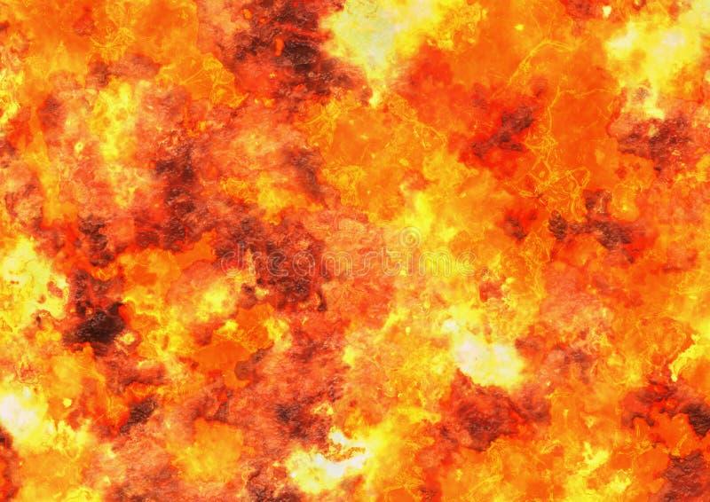 Textuur van de hitte de rode lava van uitbarstingsvulkaan vector illustratie