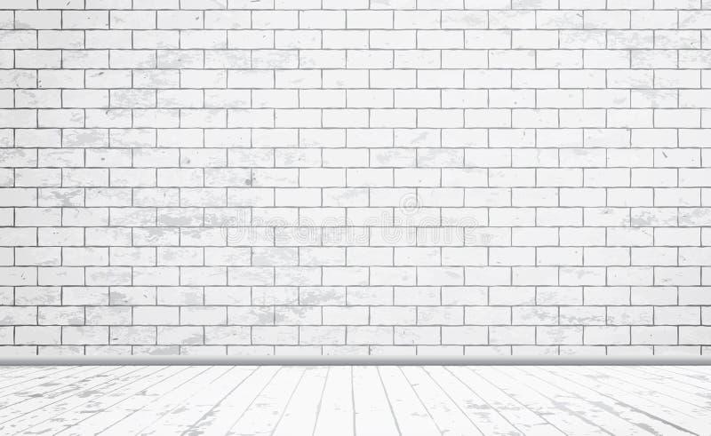 Textuur van de rechthoek de witte bakstenen muur met houten vloer Vector illustratie stock illustratie