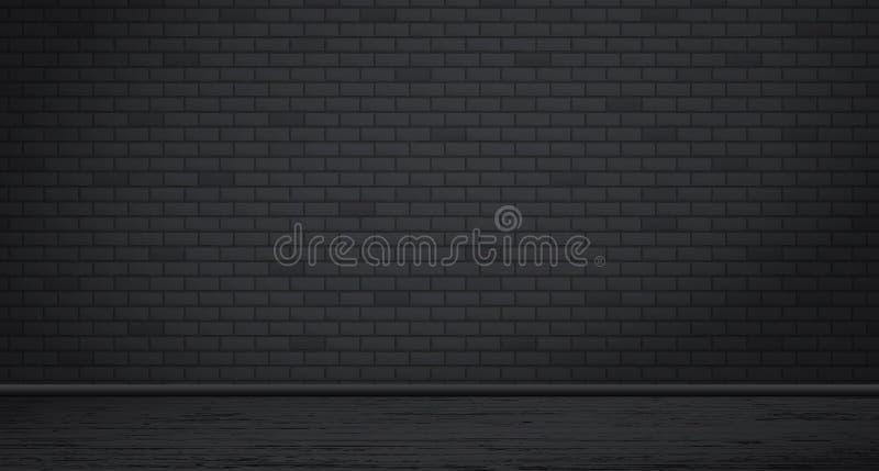 Textuur van de rechthoek de zwarte bakstenen muur met houten vloer Vector illustratie vector illustratie