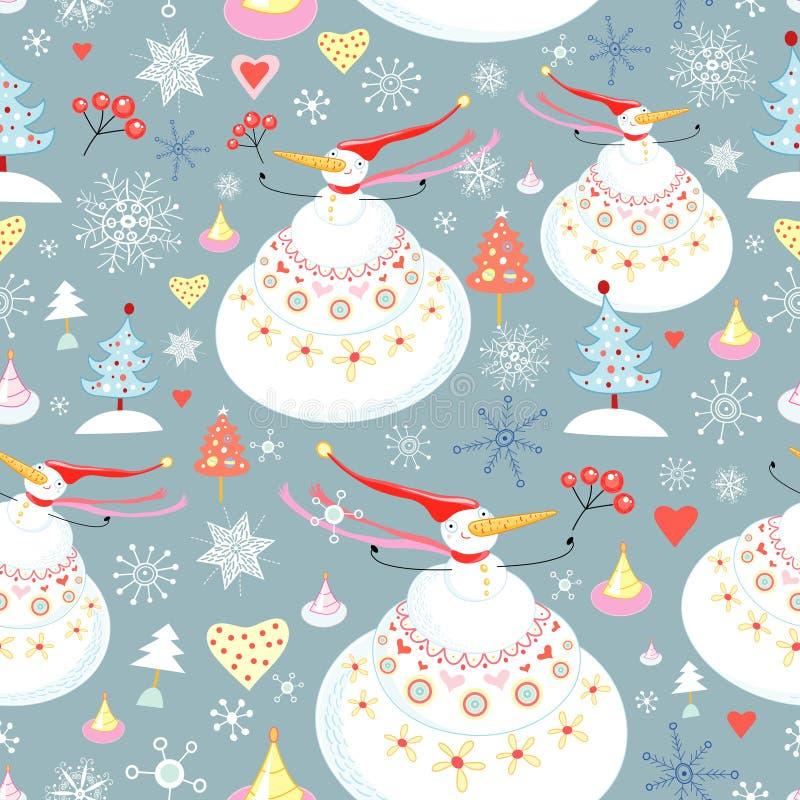 Textuur van de sneeuwmannen vector illustratie