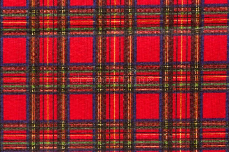 Textuur van de tafelkleed de geruite rode en bruine stof stock fotografie