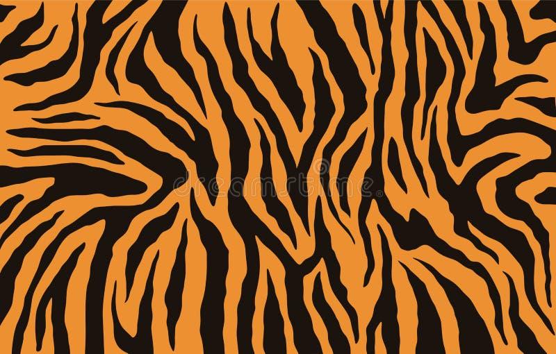 Textuur van de tijgerbont van Bengalen, oranje strepenpatroon Dierlijke huiddruk Safariachtergrond Vector vector illustratie