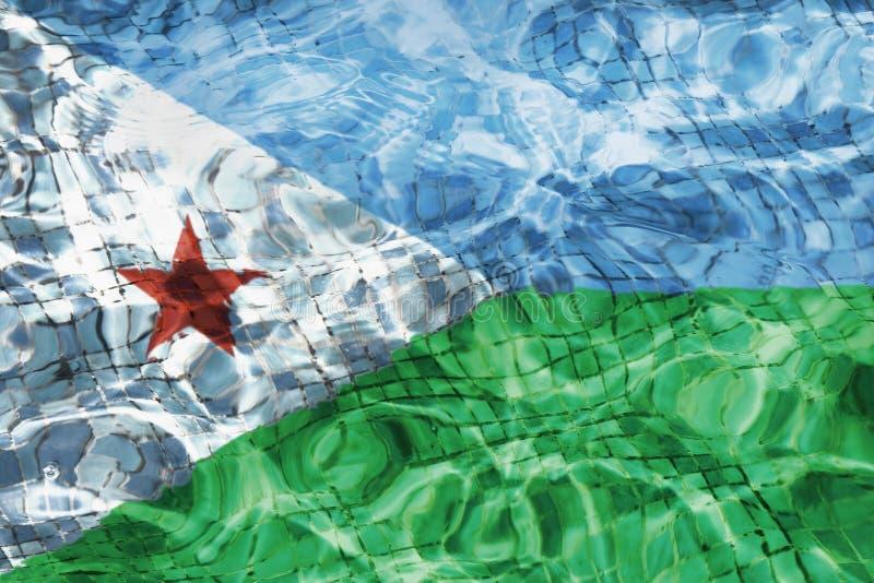 Textuur van de vlag van Djibouti in de pool, water royalty-vrije stock fotografie