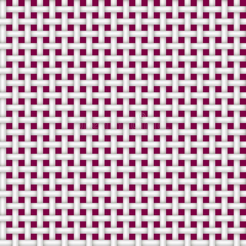 Textuur van een naadloos rotanwit op een rode achtergrond stock illustratie