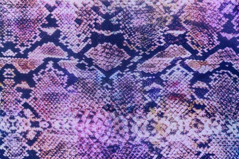 Textuur van gestreept de slangleer van de drukstof stock afbeeldingen