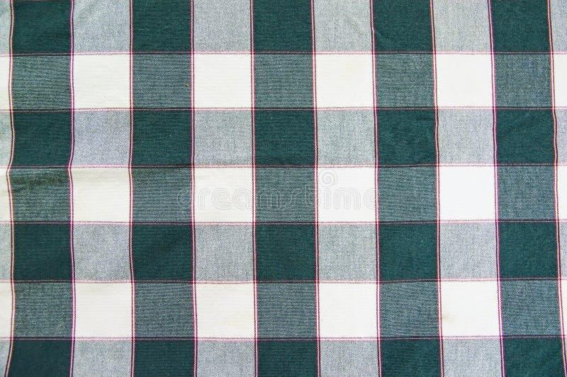 Textuur van groen - witte geruite stof stock foto's