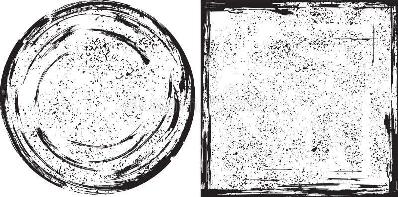 Textuur van Grunge de ronde en vierkante kaders Vector vector illustratie