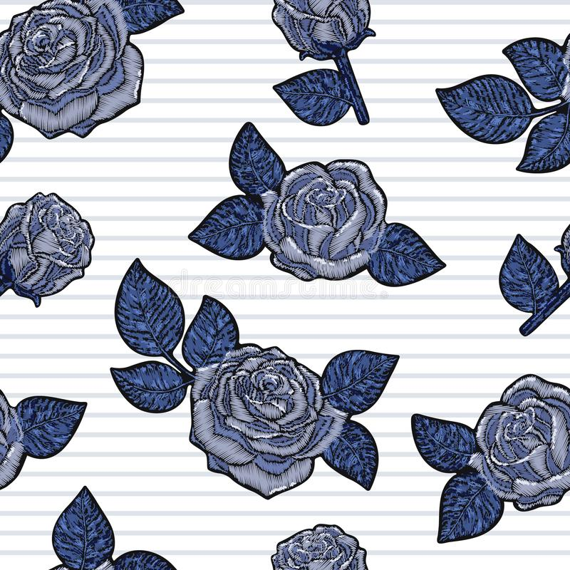 Textuur van het borduurwerk de naadloze patroon, behang, achtergrond met blauwe mooie rozen Vector bloemenornament op zwarte stock illustratie