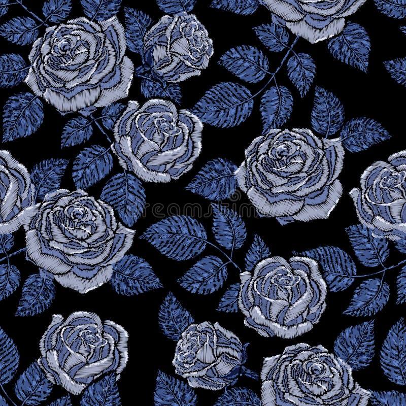 Textuur van het borduurwerk de naadloze patroon, behang, achtergrond met mooie blauwe rozen Vector bloemenornament op zwarte stock illustratie