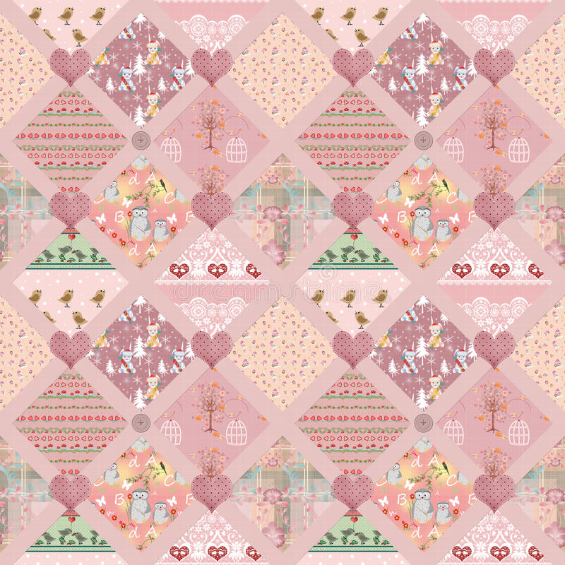 Textuur van het de vierkanten naadloze patroon van lapwerkjonge geitjes de roze vector illustratie