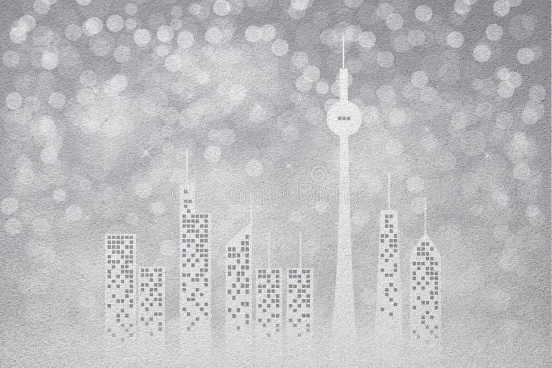Textuur van het de winter de stad berijpte glas als achtergrond stock illustratie