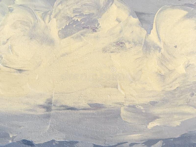 Textuur van het schilderen abstracte kunst lichtblauwe en witte kleur als achtergrond royalty-vrije stock foto