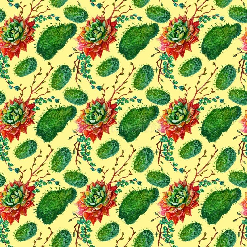 Textuur van het waterverf de naadloze patroon - succulents het art. van de installatiesklem stock illustratie