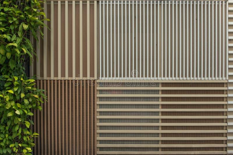 Textuur van houten latmuur en bladerenachtergrond royalty-vrije stock fotografie
