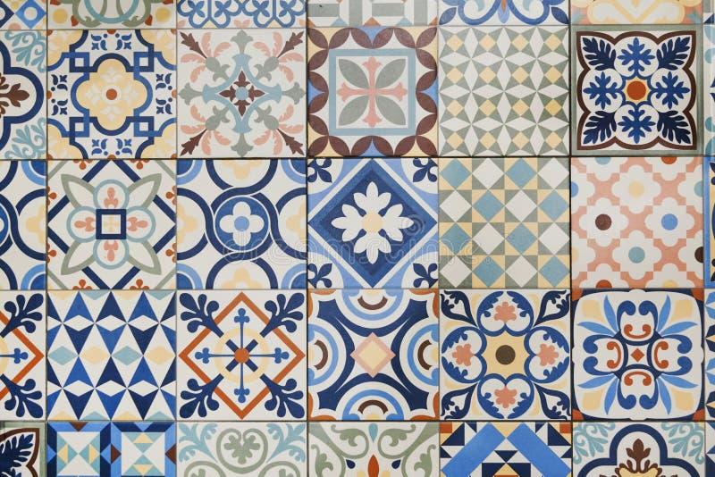 Textuur van keramische tegels in oosterse Turkse stijl stock fotografie