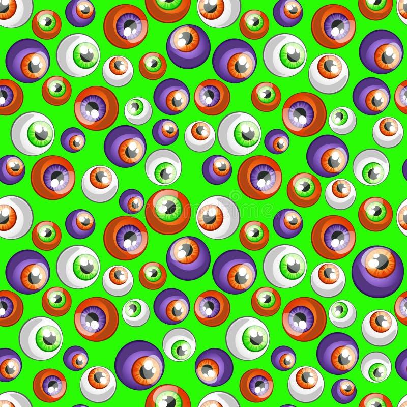 Textuur van menselijke kleurrijke die oogappels op groene achtergrond wordt geïsoleerd Schets voor kaart, naadloze textuur voor v vector illustratie