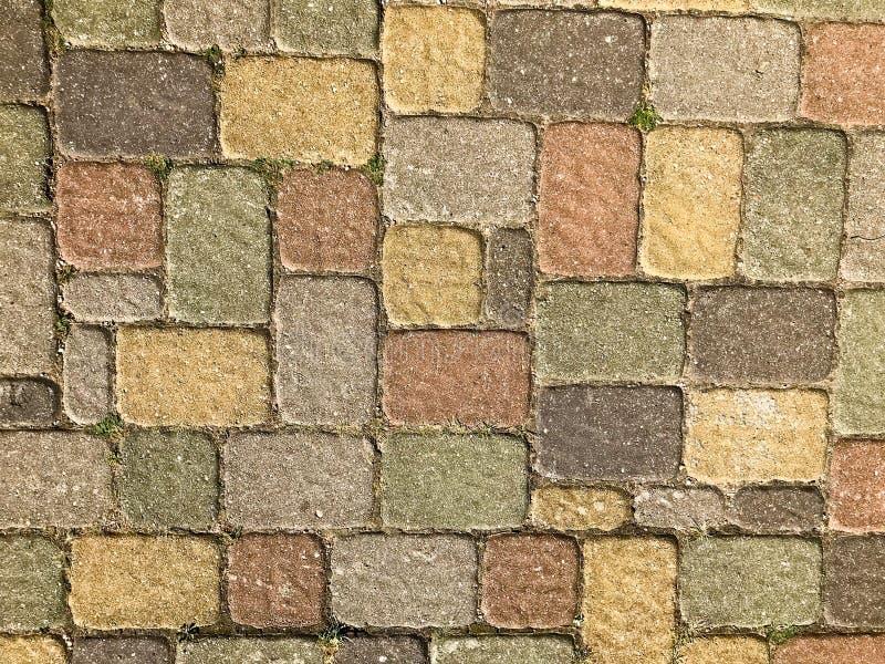 Textuur van multicolored mooie rechthoekige steen concrete die het bedekken baksteentegels met naden met groen gras worden overwo royalty-vrije stock afbeelding