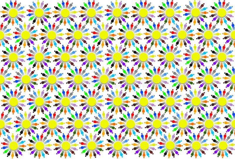Textuur van multicolored patronen met kleine mensen royalty-vrije illustratie