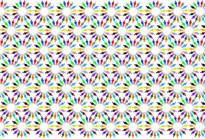 Textuur van multicolored patronen met kleine mensen stock illustratie