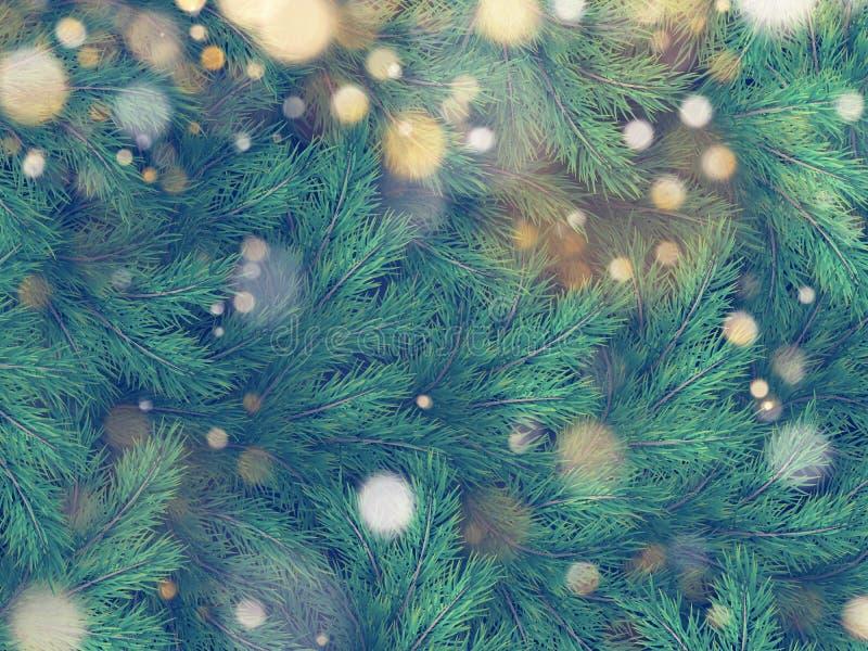 Textuur van muur met de spartakken die van de Kerstboompijnboom wordt verfraaid Eps 10 vector illustratie