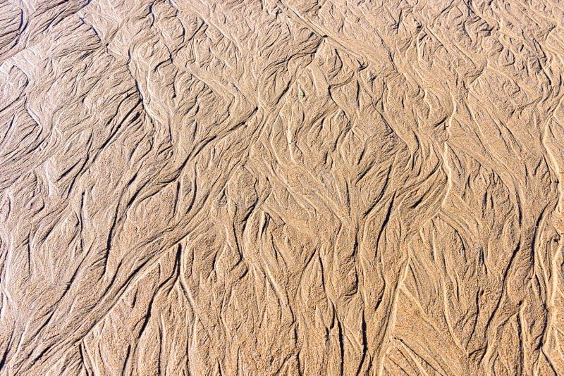 Textuur van nat zand op het strand royalty-vrije stock afbeeldingen