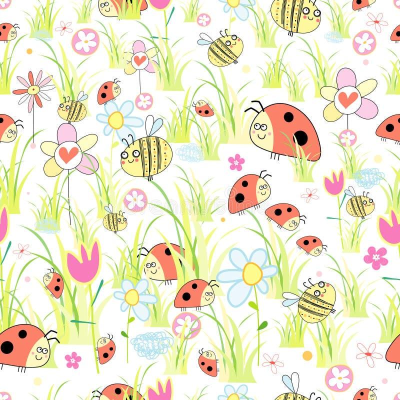 Textuur van onzelieveheersbeestjes in het gras stock illustratie