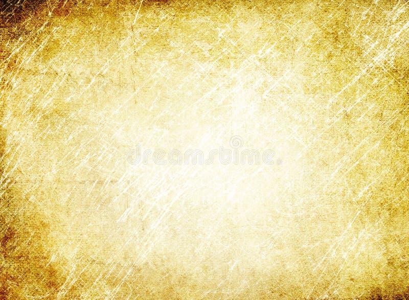 Textuur van oud grungedocument, uitstekende, gele bruin, kras, sta stock illustratie