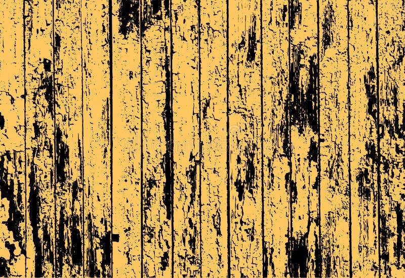 Textuur van realistische gele oude geschilderde houten omheining stock illustratie