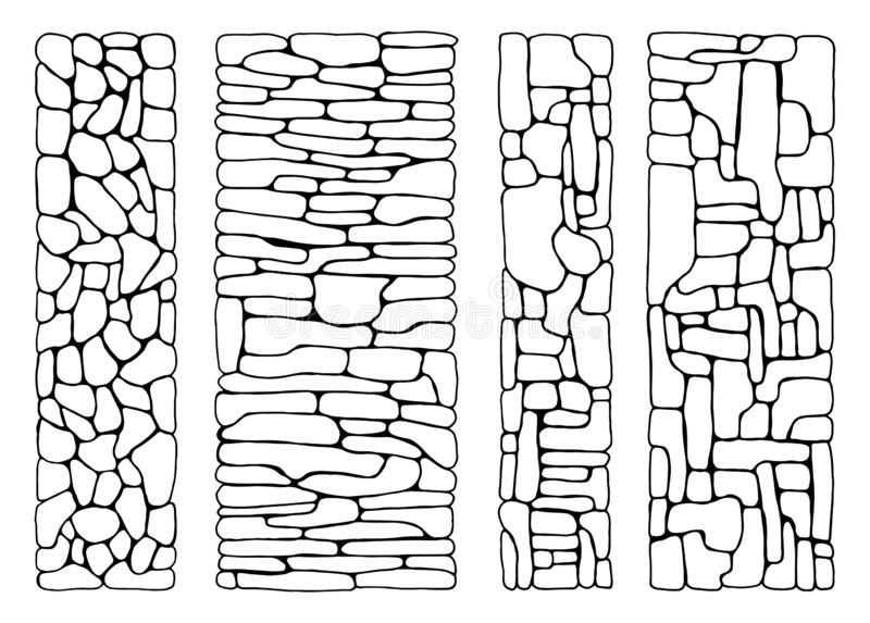 Textuur van stenen muur van bakstenen geplaatst vector bedekte vlakke steen stock illustratie