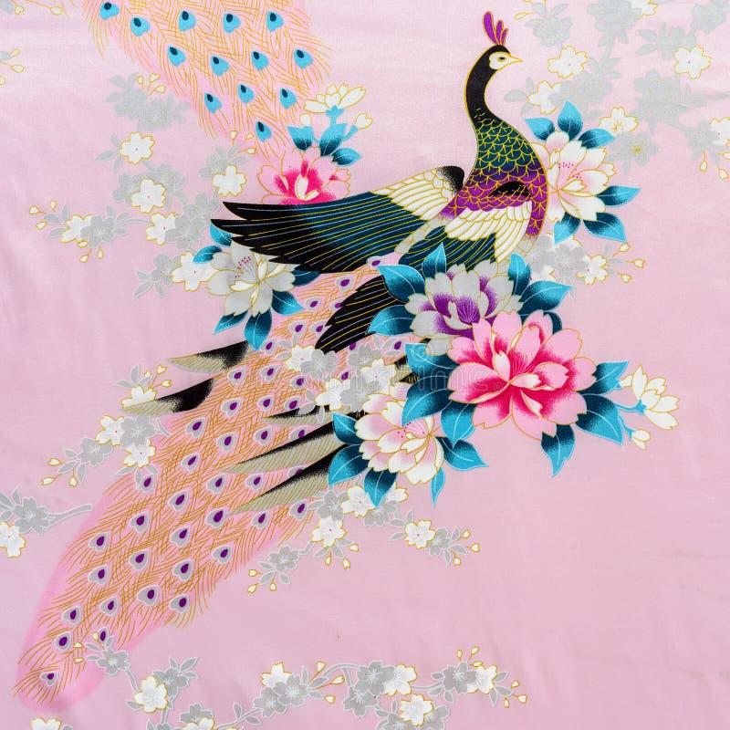 Textuur van uitstekende de strepenpauw en bloem van de drukstof royalty-vrije stock fotografie