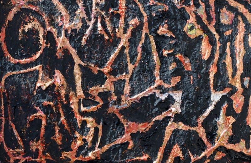 Textuur van verbrande antiquiteiten Imitatie van verbrande verf op een gelaagd voorwerp Achtergrond met abstract patroon royalty-vrije stock foto