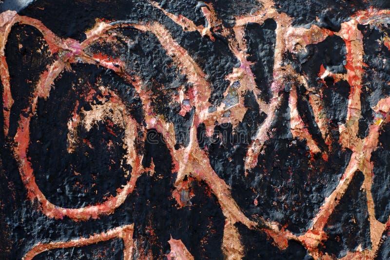 Textuur van verbrande antiquiteiten Imitatie van verbrande verf op een gelaagd voorwerp Achtergrond met abstract patroon stock fotografie