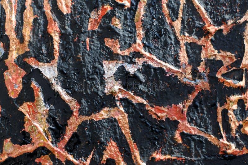 Textuur van verbrande antiquiteiten Imitatie van verbrande verf op een gelaagd voorwerp Achtergrond met abstract patroon stock foto