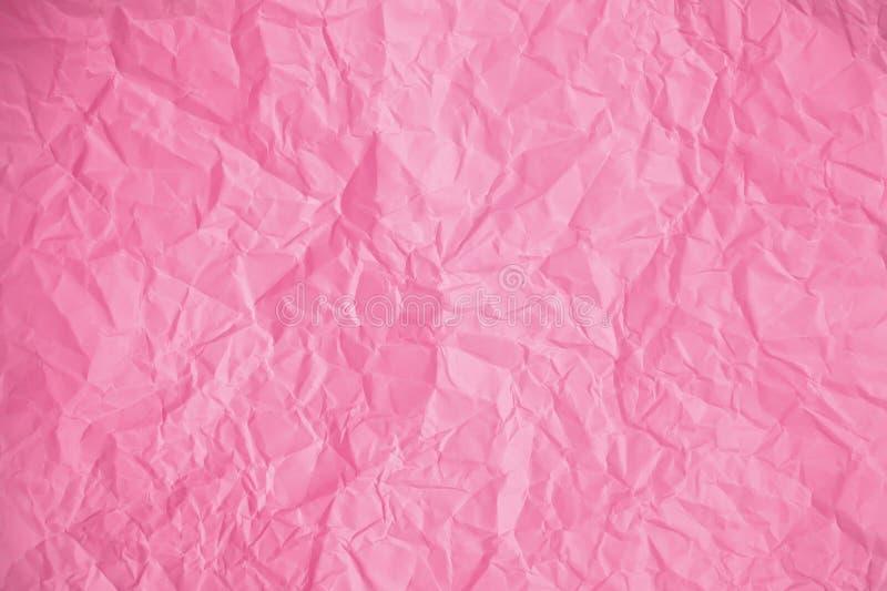 Textuur van verfrommeld Roze document stock fotografie