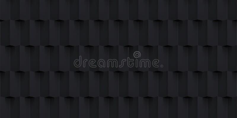 Textuur van volume ontwerpt de realistische vectorkubussen, zwart geometrisch patroon, donkere achtergrond voor u projecten vector illustratie