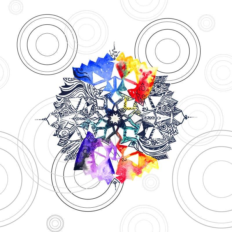 Textuur van Watercolored de naadloze mandala royalty-vrije illustratie