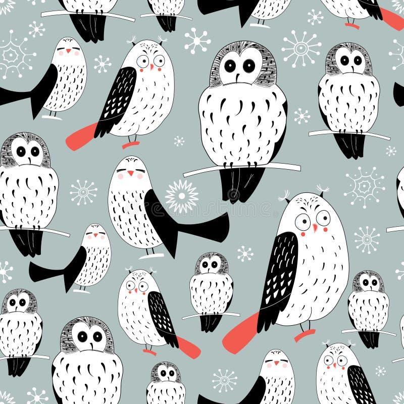Textuur van witte uilen stock illustratie