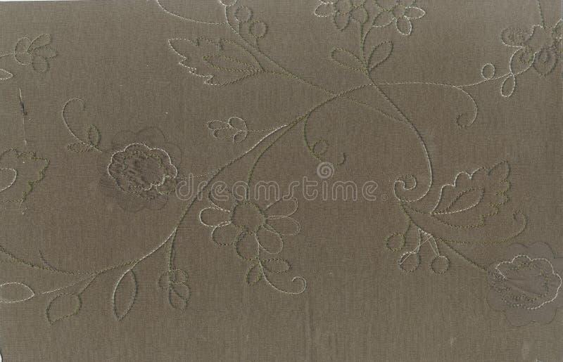 Textuur van zijdestof met een overmaats patroon van de visitimdraad van bloemenornament De Victoriaanse stijl van de Noordelijke  royalty-vrije stock afbeeldingen