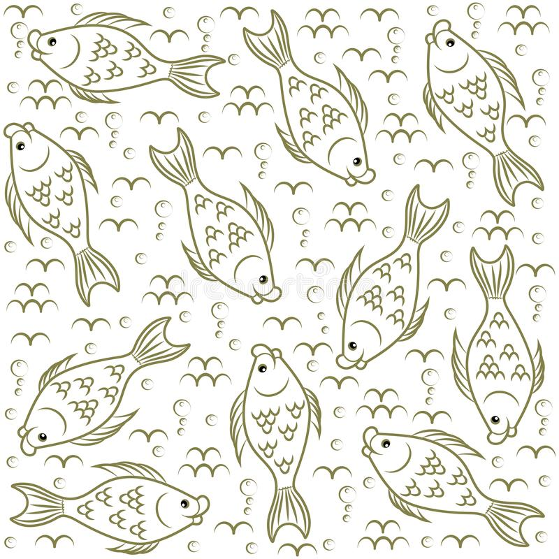 Textuur Vissen Onderwater wereld stock illustratie